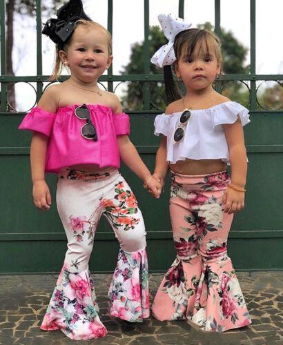 2PCS Toddler Baby Kids Girl Off Shoulder Tops+Floral Bell-Bottoms Flared Pants