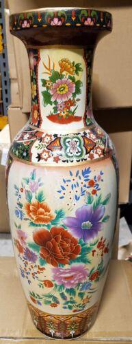 "NEW 24/"" ASIAN ORIENTAL GEISHA /& Flowers DOUBLE SCENE DECORATIVE VASE ROUND TOP"