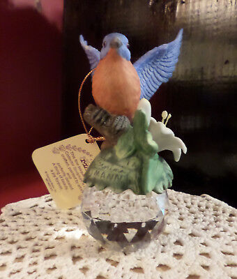 Seymour Mann Porcelain Hummingbird Bernini Design Glass Ball Sphere Paperweight