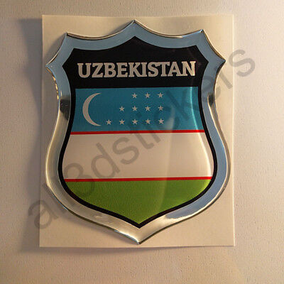 Sticker Uzbekistan Emblem 3D Resin Domed Gel Uzbekistan Flag Vinyl Decal Car