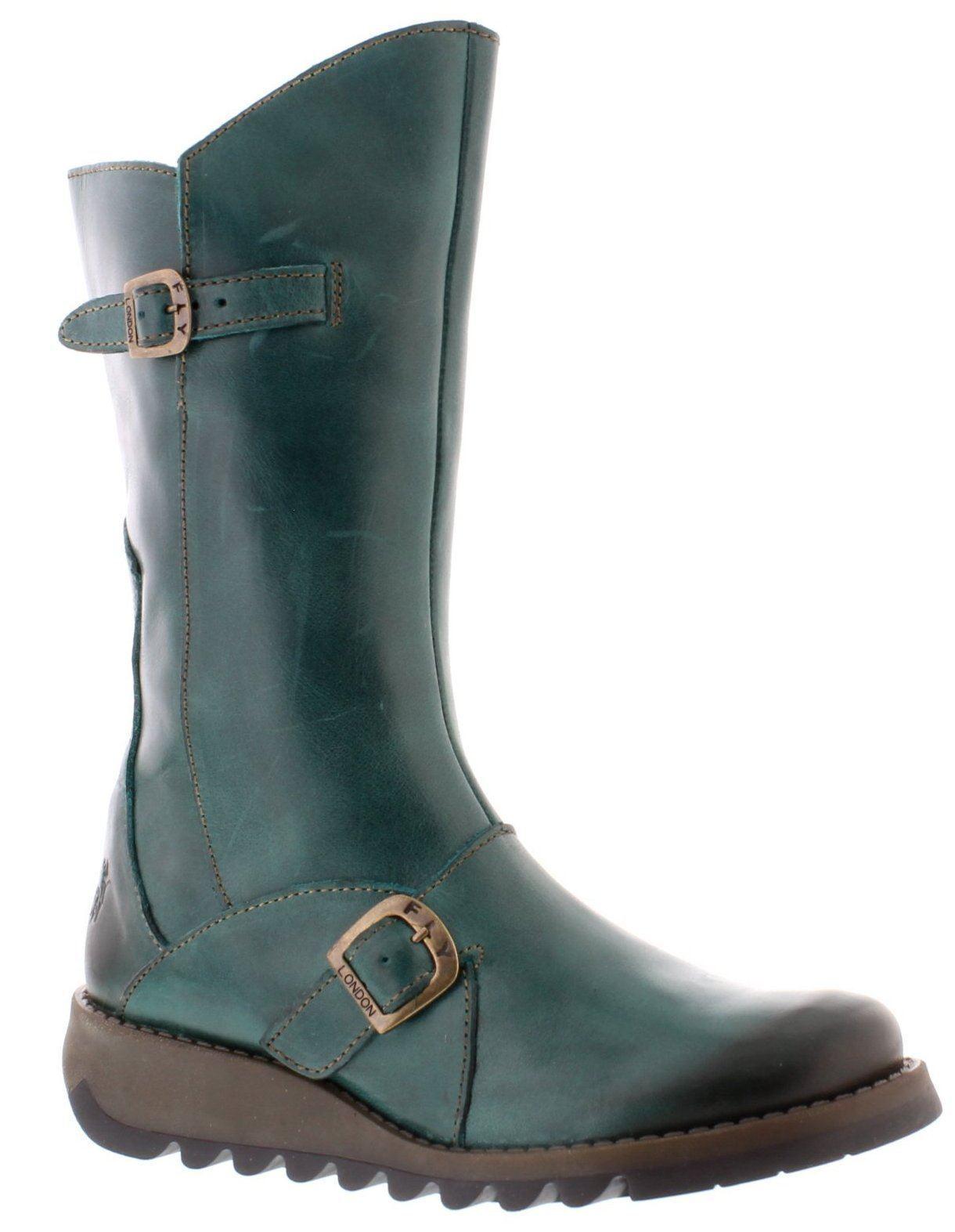 Fly London Mes 2 gasolina Cuero para mujeres botas botas botas Mitad de Pantorrilla  producto de calidad