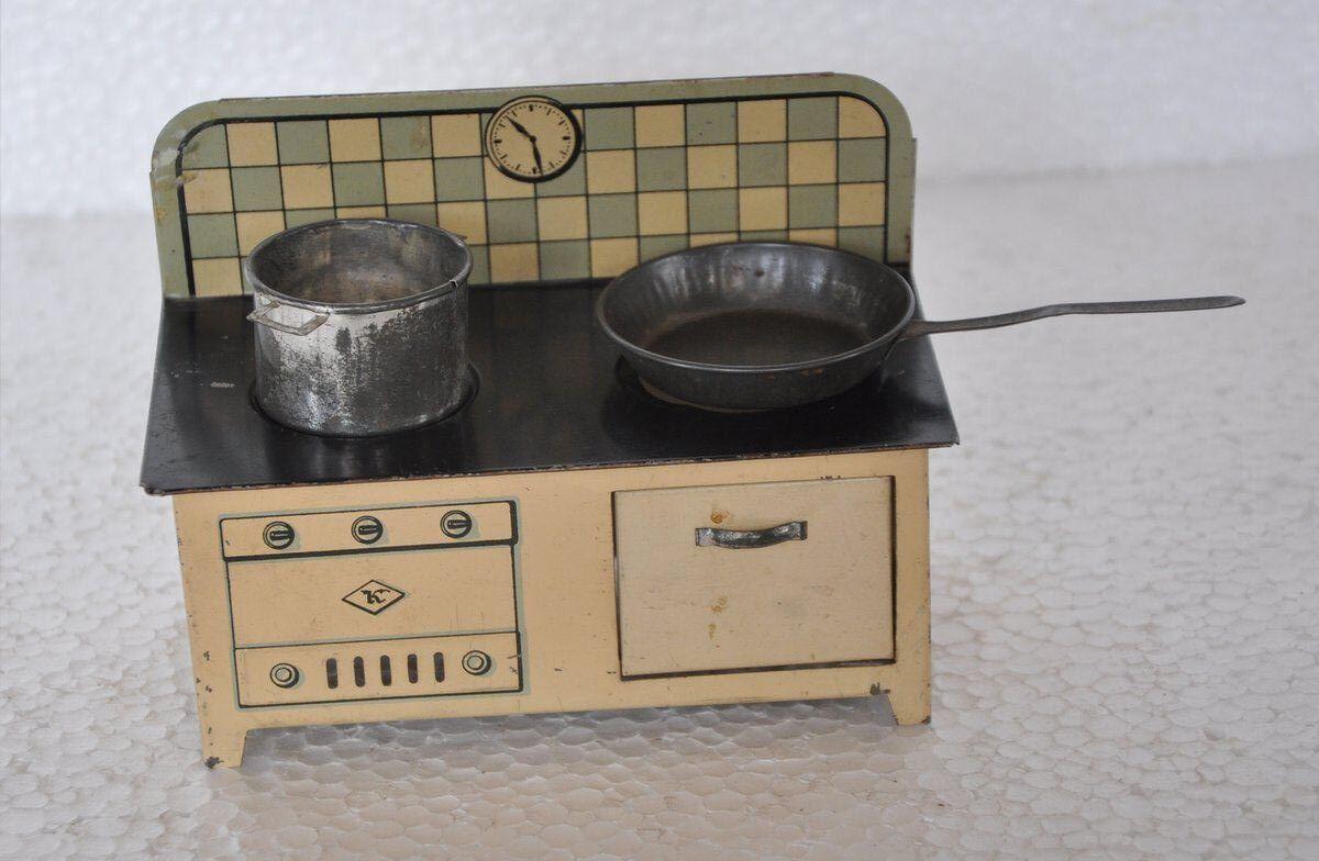 Vintage Marca Litografía Bebé Muñeca Casa K Cocina Estufa conjunto de juguete, Alemania