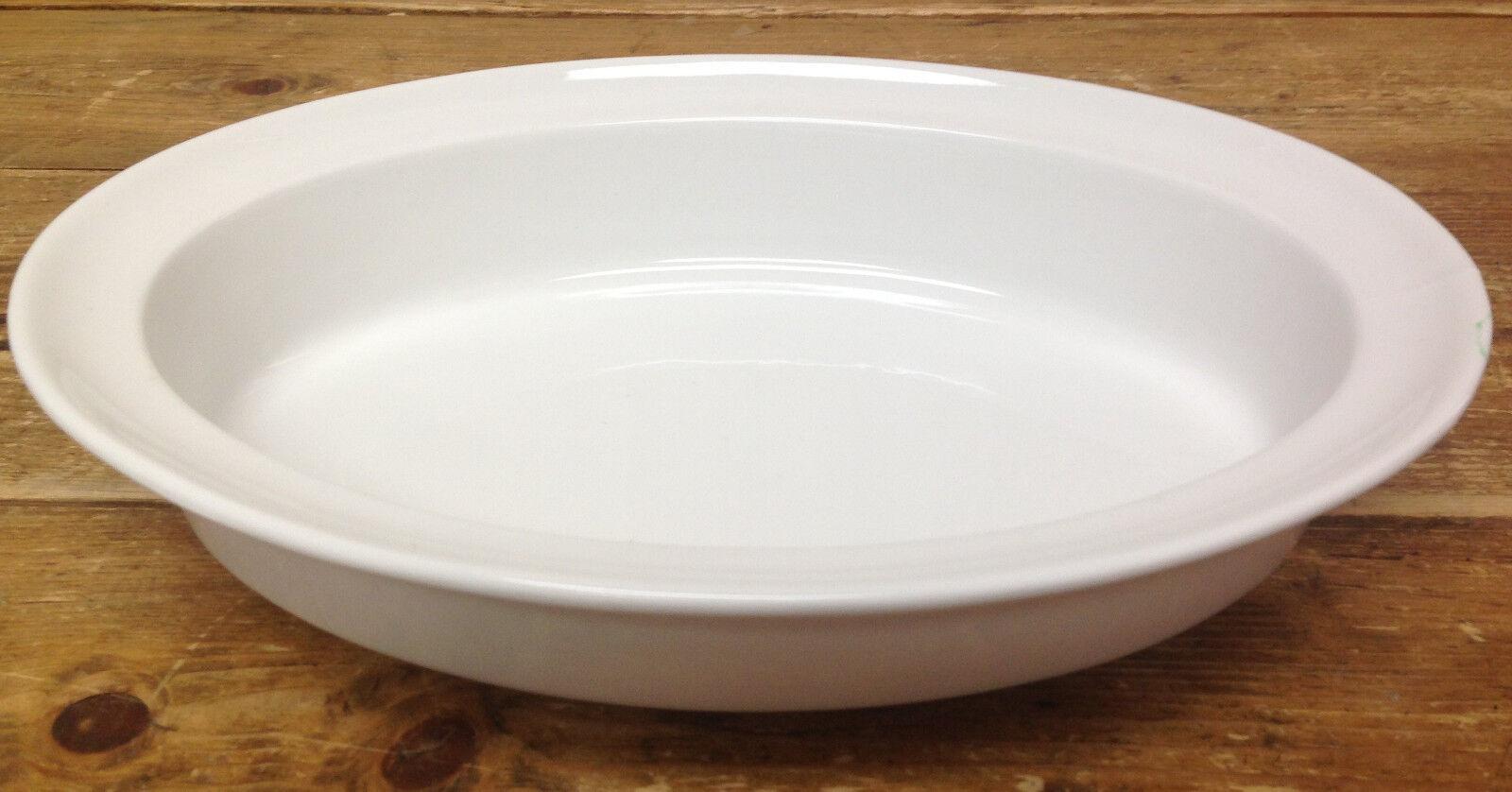 Crate & Barrel Grand Porcelaine Blanc Ovale Cuiseur 658-367 Bord 13 1 4 Cuisson