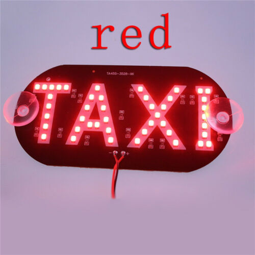 1 Pc Plastic Windscreen Windshield Sign Red Taxi Cab LED Light Lamp Bulb TS