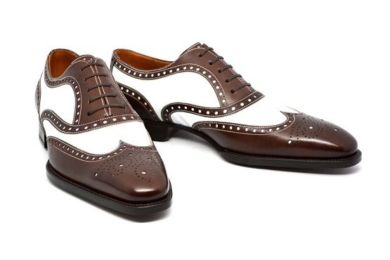 Handmade Men Spectator shoes, Men Brown And White Formal Dress shoes