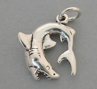 Sterling Silver Charm Pendant Great White SHARK Ocean Sea 4263
