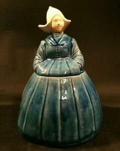 Vintage-Dutch-girl-cookie-jar-Blue-with-white-head-and-hat-12-034-tall