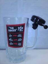 The Ringer 20 oz. Glass Beer Mug with Attached Bicycle Bell