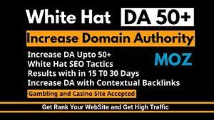 SEO website increase the  domain authority 50 plus, increase DA TF and  DR
