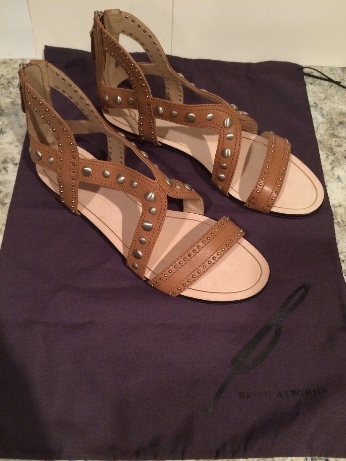 Brian Atwood Angela Gladiator Sandals Flats Pelle Zip Brown 9.5 M 40.5  295