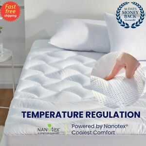 Mattress Pad Cover Memory Foam Pillow Top Cooling Overfilled Topper Queen,King..