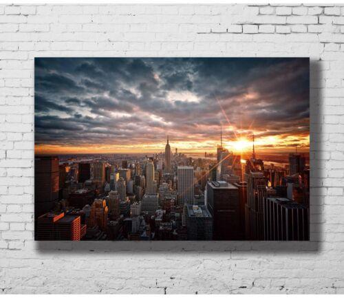 24x36 14x21 Poster York City Evening Sunset Cityscape Skyscrapers Art Hot P-1328