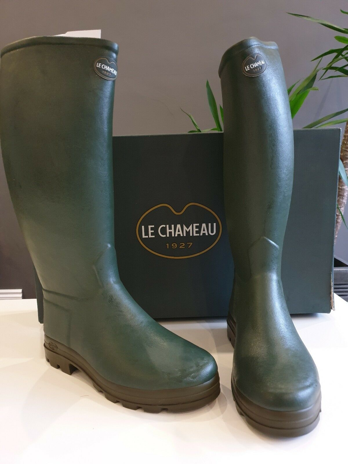 Le Chameau St Hubert Leather Lined Wellington Hand Made size 40 green