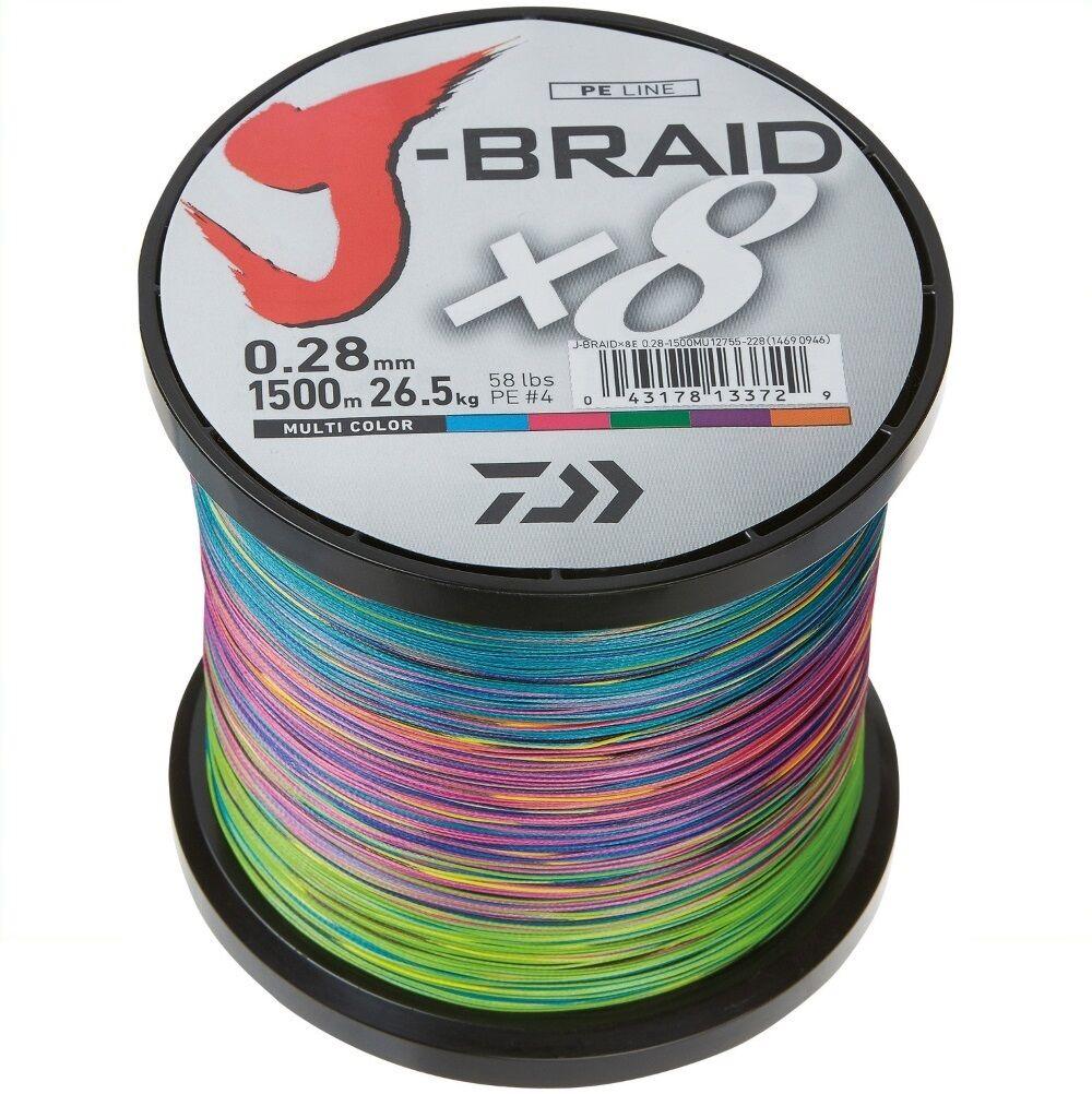 Daiwa J-BRAID x8 0,18mm - Multi Farbe - 1500m Großspule geflochtene Schnur