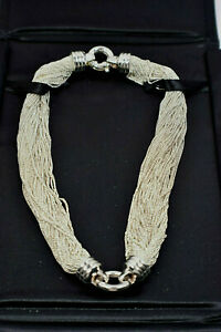 Rare-Tiffany-amp-Co-Silky-Multi-Chain-Mesh-039-O-039-Ring-Necklace-Sterling-Silver-w-Case
