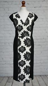 NEXT-Black-White-Floral-Illusion-Shift-Dress-Size-8-Pencil-Wiggle-Midi-NEW