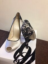 Nine West UK Size 5 US 7 Joan 2 Satin Cream Black Lace Peep Toe High Heels 12cm