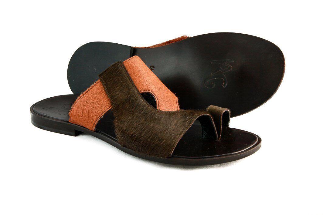 Roberto Guerrini S 1002 Men's Beige/Olive Pony Sandals