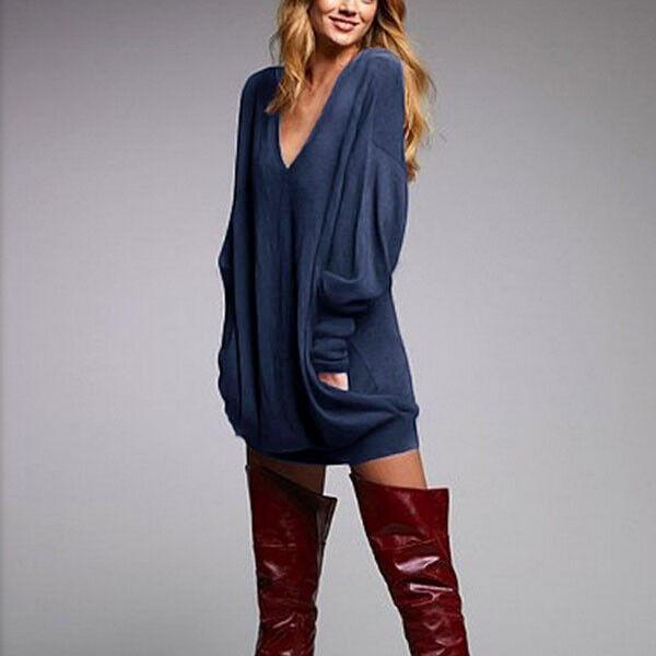 3cace519307 Oversized S-3xl Women V Neck Long Sleeve Tops Jumper Sweater Dress  Sweatshirt Blue XXXL for sale online