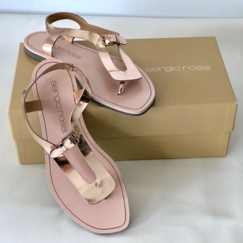 Sergio Rossi Rose Gold Sandals Size 37 Brand New with Box
