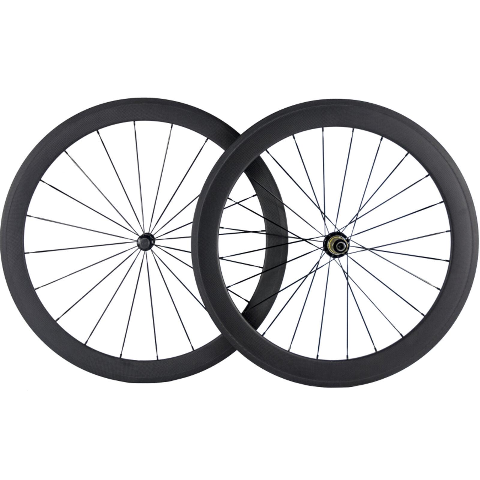 Full  Carbon Fibre Front 50mm Carbon Wheelset Clincher Rear 60mm Carbon Road Whee  export outlet
