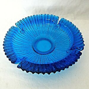 Vintage-Blenko-Art-Glass-Cobalt-Blue-Sunburst-Heavy-Ashtray-9-034