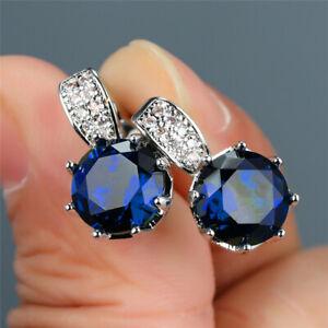 5Ct Round Cut Sapphire Diamond Solitaire Elegant Stud Earrings 14K White Gold Gp