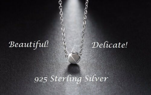 925 Sterling Silver Tiny Small Disc Necklace Circle Round Charm Pendant Gift