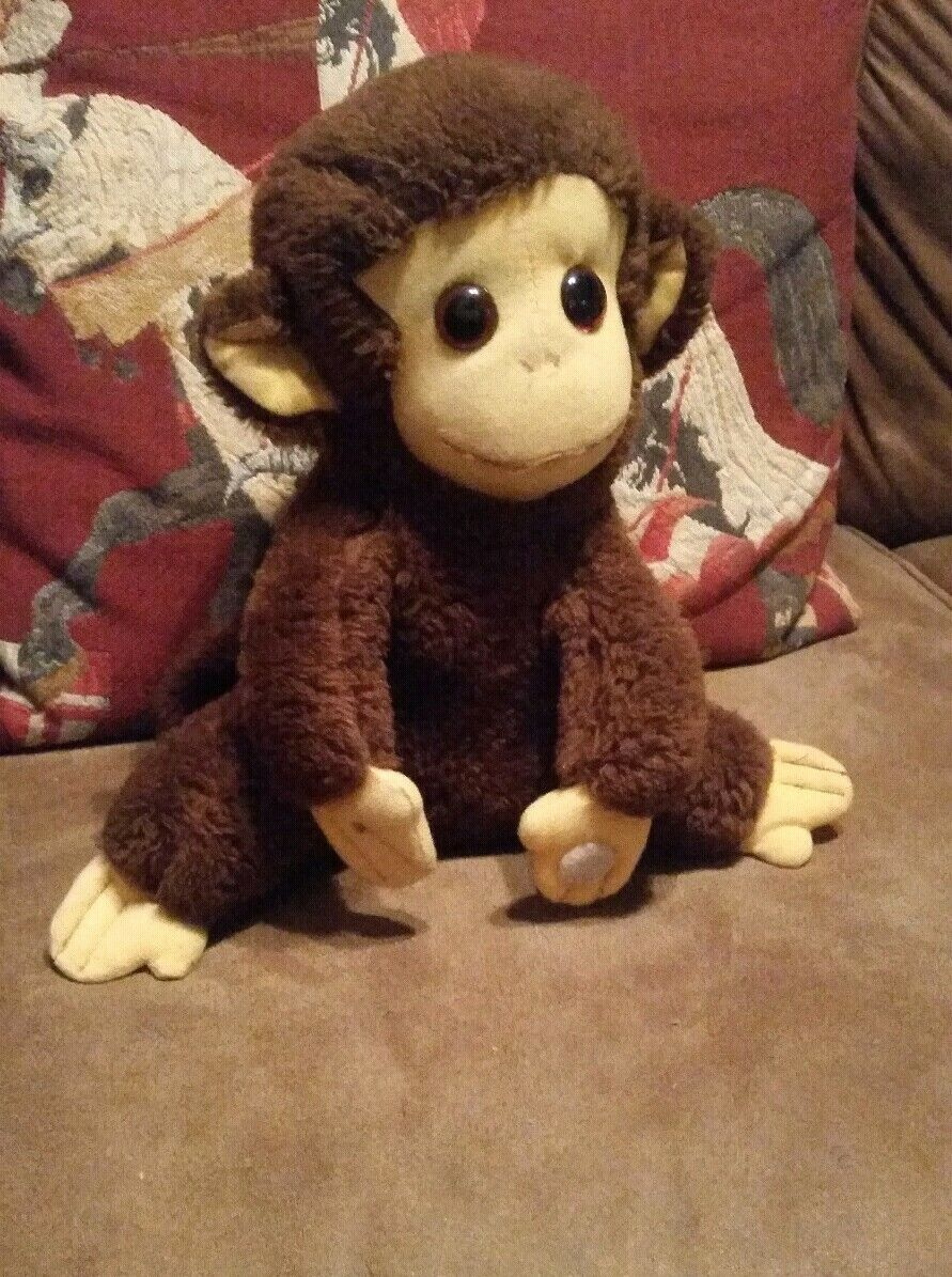 Vintage Monkey stuffed animal plush toy brown w cloth face,hands and feet