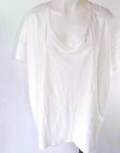 Lane-Bryant-Plus-Size-Short-Sleeve-T-Shirt-Top-White-Lace-Inset-V-Neck-26-28