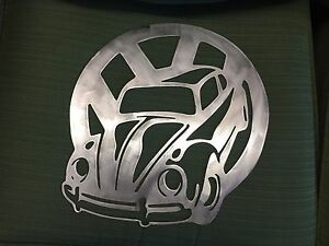 vw logo cnc plasma metal art volkswagen bug in a vw logo. Black Bedroom Furniture Sets. Home Design Ideas