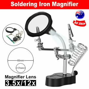 Solder-Station-Third-Hand-Soldering-Iron-Stand-Holder-Magnifier-LED-Helping-Tool