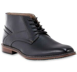 mens black smart casual lace up chukka walking ankle faux