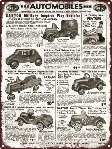 "1942 Garton Military Pedal Car Ambulance US Army Tank Metal Sign 9x12/"" A016"
