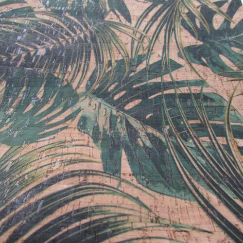 Cork Leather ~  per 50cm JUNGLE LEAVES PRINTED Cork Fabric