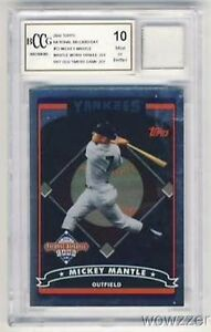 2006-Topps-T2-Mickey-Mantle-WORN-YANKEES-JERSEY-Beckett-10-MINT-GGUM