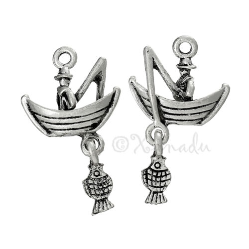 Gone Fishing Charms 31mm Antiqued Silver Plated Pendants C5328-10 20 Or 50PCs