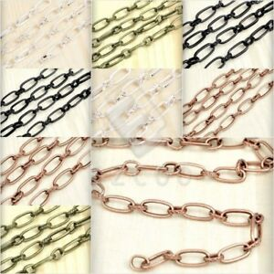 2m-Unfinished-Textured-Curb-Chain-Bulk-Jewelry-Necklace-Makings-2-Size-PWCH