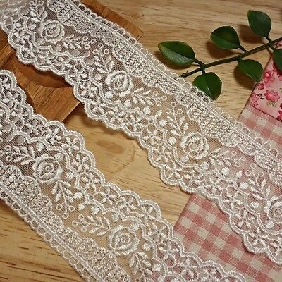 """mesh net embroidered lace trim 14 yards 1.8"""" width(45mm)-EL11"""