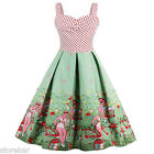 Plus Size Vintage Retro Swing 50s Housewife Rockabilly Pinup Party Mini Dress