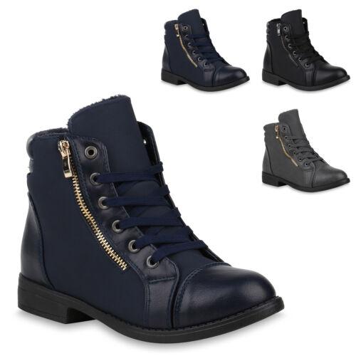 Damen Schnürstiefeletten Schuhe Stiefeletten 820163 Trendy Neu