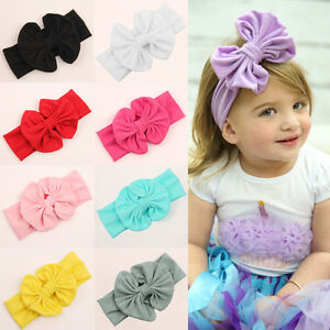 Girls-Kids-Baby-Cotton-Bow-Hairband-Headband-Stretch-Turban-Knot-Head-Wrap-Newly