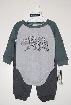 Details about  /NWT Lucky Brand Infant Boys Green /& Gray LS Bear Logo Thermal Shirt /& Pants Set