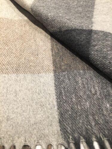 Blanket in Grey Navy Check Tartan Car Cover Tweeds of Scotland Wool Rug