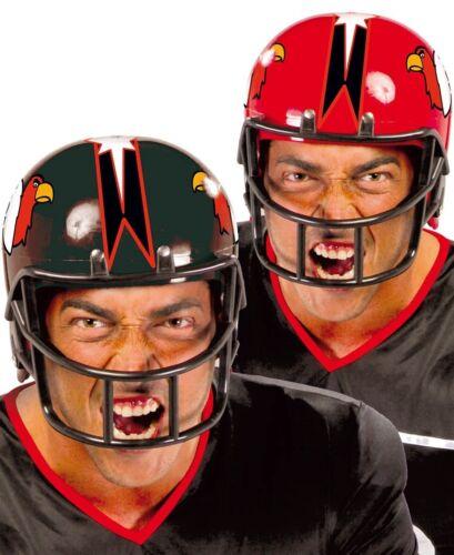 Mens American Football Quarterback Black Red Helmet Fancy Dress Costume Hat