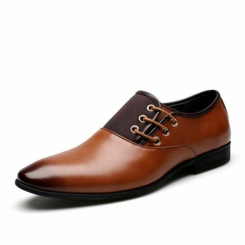 Men Leather Oxfords British Wedding Formal Dress Shoes Pointy Toe Casual Loafers