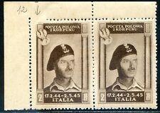 Corpo Polacco 1946 n. 12 coppia - carta zigrinata - varietà ** (m893)