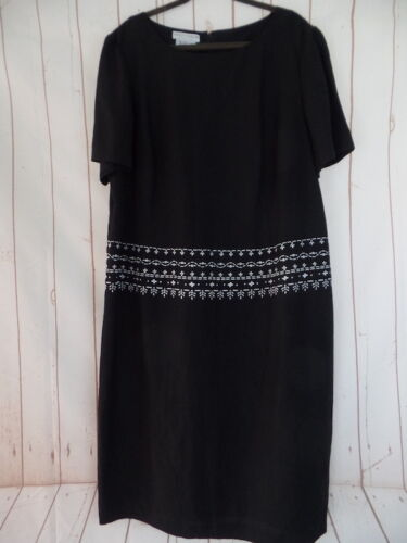 Maggy London Woman Dress 22 Black Linen Rayon Pull