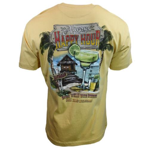 Always Happy Hour Men/'s T-shirt yellow 100/% Cotton Newport Blue-Drink Wells