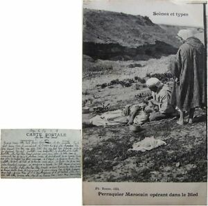 """Maroc Perruquier marocain opérant dans le Bled cpa 1921 scènes et types barbier - France - État : Occasion : Objet ayant été utilisé. Consulter la description du vendeur pour avoir plus de détails sur les éventuelles imperfections. Commentaires du vendeur : """"Bon état"""" - France"""